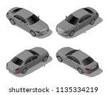 isometric gray sedan car set... | Shutterstock .eps vector #1135334219