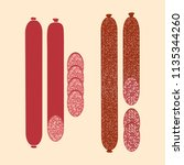 sausage set isolated  vector... | Shutterstock .eps vector #1135344260