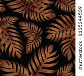 palm monstera seamless pattern. ... | Shutterstock .eps vector #1135344509