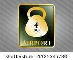 gold badge or emblem with 4kg... | Shutterstock .eps vector #1135345730