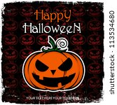 halloween greeting card with... | Shutterstock .eps vector #113534680