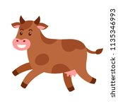 funny brown cow jumping or... | Shutterstock .eps vector #1135346993