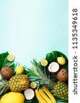 exotic pineapples  ripe... | Shutterstock . vector #1135349618
