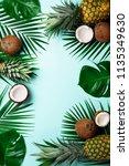 exotic pineapples  ripe... | Shutterstock . vector #1135349630