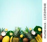 exotic pineapples  ripe... | Shutterstock . vector #1135349648