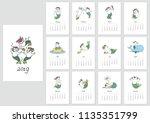 monthly calendar 2019 template... | Shutterstock .eps vector #1135351799