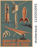 vintage space and science... | Shutterstock .eps vector #1135352093