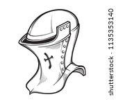 medieval european helmet... | Shutterstock .eps vector #1135353140
