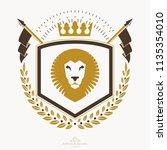 luxury heraldic vector emblem... | Shutterstock .eps vector #1135354010