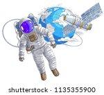 astronaut flying in open space... | Shutterstock .eps vector #1135355900