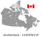 grey vector map of canada with... | Shutterstock .eps vector #1135356119