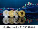 four cryptocurrency coins set... | Shutterstock . vector #1135357646