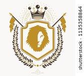 luxury heraldic vector emblem... | Shutterstock .eps vector #1135358864