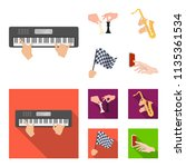 playing on an electric musical... | Shutterstock .eps vector #1135361534