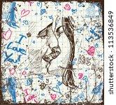 vintage scratched background... | Shutterstock .eps vector #113536849