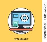 a computer showing programming ... | Shutterstock .eps vector #1135368914