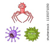 types of funny microbes cartoon ... | Shutterstock .eps vector #1135371050