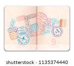 realistic open foreign passport ... | Shutterstock .eps vector #1135374440
