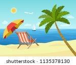 deck chairs and umbrella beach... | Shutterstock .eps vector #1135378130