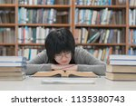 bored asian student girl with... | Shutterstock . vector #1135380743