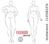 plus size model. curvy body. ... | Shutterstock .eps vector #1135381376