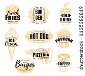fast food sketch label with... | Shutterstock .eps vector #1135382819