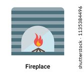 fireplace icon vector isolated...   Shutterstock .eps vector #1135384496