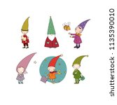 set of cute cartoon gnomes.... | Shutterstock .eps vector #1135390010