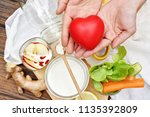 heart and healthy food  kefir... | Shutterstock . vector #1135392809