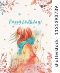 birthday card template with... | Shutterstock . vector #1135393739