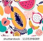 fresh frouit tropical seamless... | Shutterstock .eps vector #1135398089