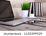 comfortable workplace with...   Shutterstock . vector #1135399529