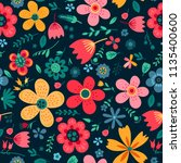 amazing floral vector seamless... | Shutterstock .eps vector #1135400600