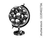 skull in the orb. illustration... | Shutterstock .eps vector #1135402736