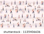 poster with people walking ... | Shutterstock .eps vector #1135406636