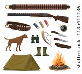 hunter weapon and equipment... | Shutterstock .eps vector #1135411136