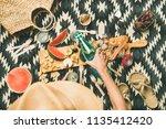 summer beach picnic setting....   Shutterstock . vector #1135412420