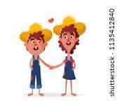funny kids holding hands.... | Shutterstock . vector #1135412840