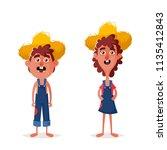 funny country kids. cartoon... | Shutterstock . vector #1135412843