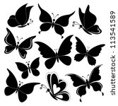 Stock vector various butterflies black silhouettes on white background vector 113541589