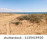 sandy beach of black sea in... | Shutterstock . vector #1135419920