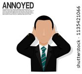 an annoyed businessman on... | Shutterstock .eps vector #1135421066