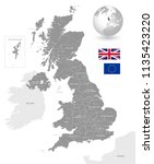 grey vector map of the uk with... | Shutterstock .eps vector #1135423220