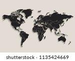 world map black blackboard... | Shutterstock . vector #1135424669