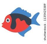 a cute cartoon fish showing an ... | Shutterstock .eps vector #1135425389