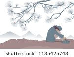 sad woman sit on cliff view... | Shutterstock .eps vector #1135425743