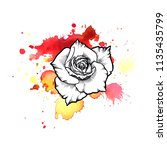 Stock photo a bright red formless watercolor blot watercolor illustration of a hand drawn on paper rose ink 1135435799