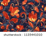 paisley watercolor floral... | Shutterstock . vector #1135441010