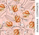 retro wild seamless flower... | Shutterstock .eps vector #1135441670