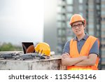 young asian engineer man... | Shutterstock . vector #1135443146